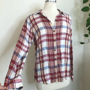 Lucky Brand plaid bungalow top button back small